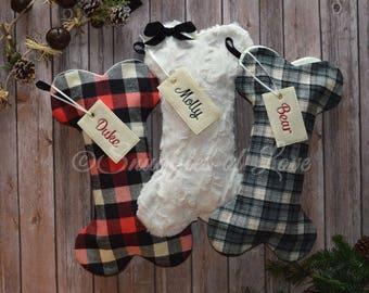 plaid dog stockings monogrammed dog stocking personalized dog christmas stockings plaid flannel dog stockings dog bone stockings - Dog Stockings For Christmas