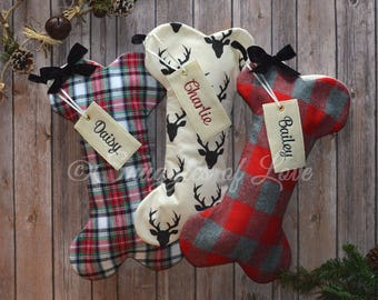personalized plaid flannel dog stockings dog bone christmas stocking stocking for dogs rustic plaid dog stocking deer dog stocking - Dog Stockings For Christmas