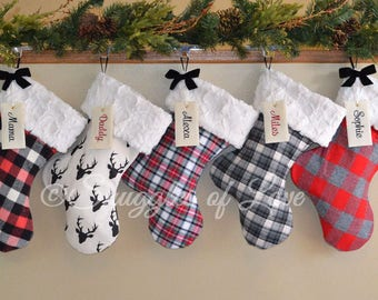 plaid stockings set of 3 stockings personalized plaid stockings rustic stockings flannel plaid christmas stockings fur stockings - Plaid Christmas Stockings