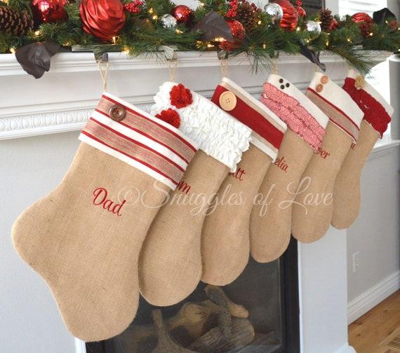 Personalized Christmas Stocking Set Set Of 4 Stockings Monogrammed Burlap Stocking Set Shabby Chic Burlap Christmas Stockings