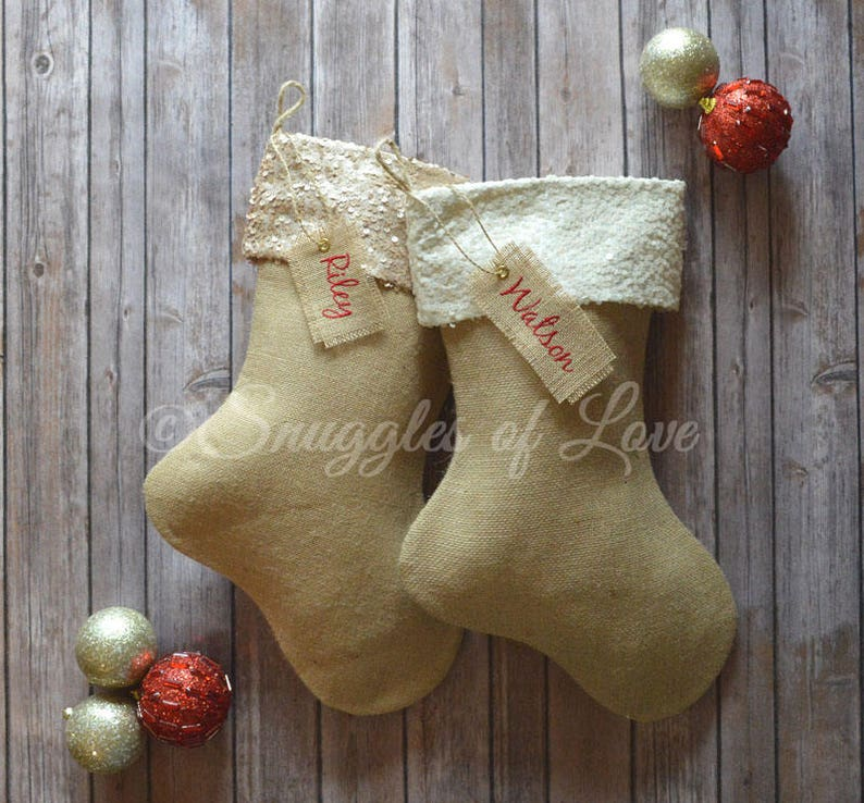 Burlap Stockings Champagne Sequin Burlap Christmas Stocking Christmas Stocking Handmade Stocking Personalized Burlap Stocking