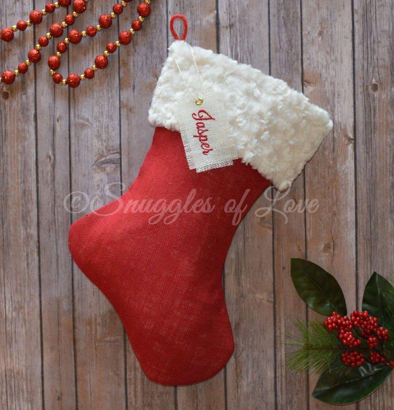 SET of 5 STOCKINGS Red Burlap Stockings PERSONALIZED Burlap Christmas Stockings Red Burlap Christmas Stockings