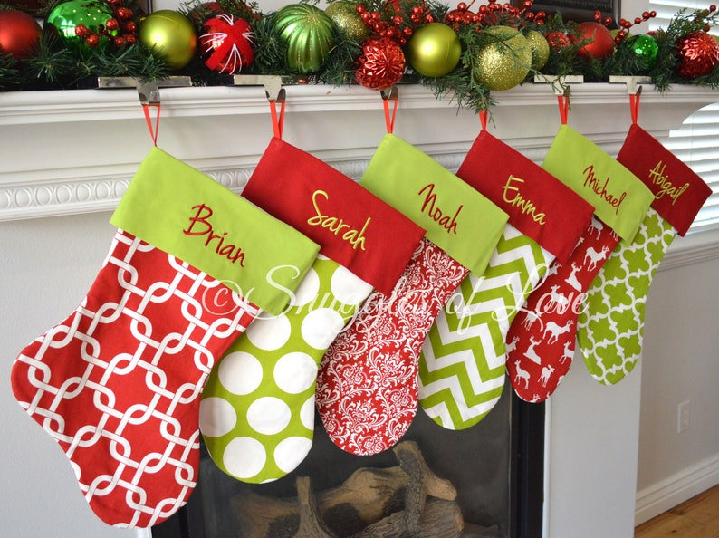 Embroidered Christmas Stockings.Embroidered Christmas Stocking Set Personalized Christmas Stockings Embroidered Stockings Set Of 7 Stockings 22 Fabric Options