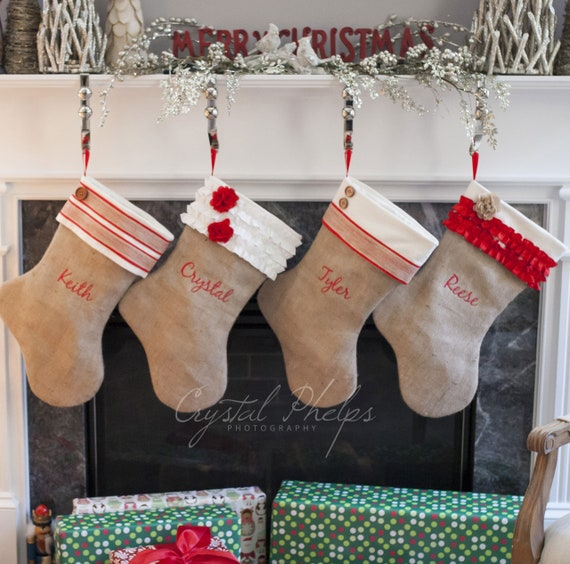 Embroidered Burlap Christmas Stockings Set Of 4 Stockings Personalized Burlap Stockings Shabby Chic Stockings Choose From 6 Styles