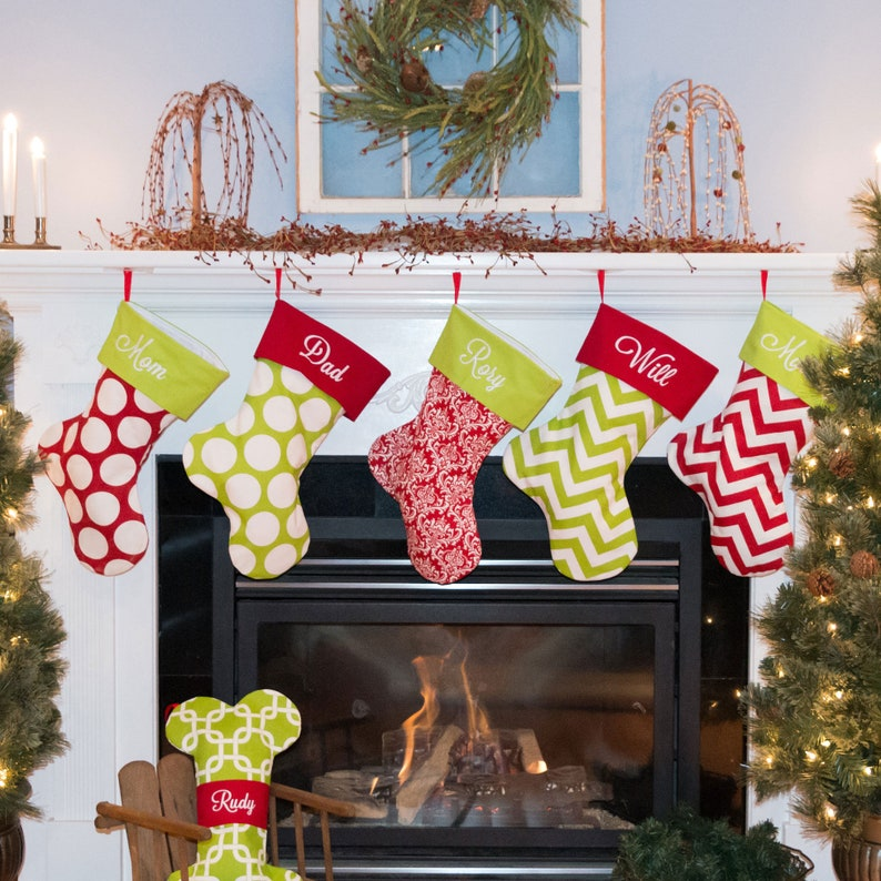Embroidered Christmas Stockings.Embroidered Christmas Stocking Set Personalized Set Of 6 Stockings Embroidered Stockings 22 Fabrics To Choose From