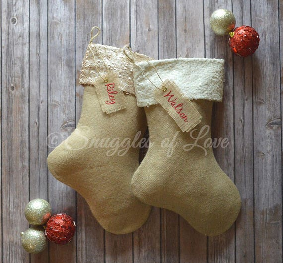 Pink Silver Fuchsia White Gold Ivory Beige Red Sequins Christmas Stockings Personalized Burlap Christmas Stocking