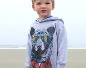 Hipster Bear and West Coast Treeline on Kids Grey Pullover Hoodie