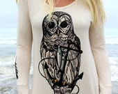 Owl and Anchor on Ladies Camper Shirt