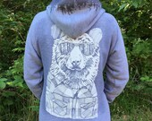 Bear in Shades & Treeline Hood Unisex Zip Hoodie