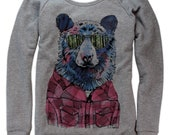 Hipster Bear on Boatneck Sweatshirt