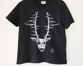 Deer Head Printed Crewneck Ladies Boxy T Shirt | 100% Organic Cotton Top | Made in BC