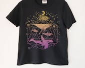 Galactic Whales Printed Ladies Crewneck Boxy T Shirt | 100% Organic Cotton Top | Made in BC