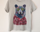 Hipster Bear Printed Ladies Crewneck Boxy T Shirt | 100% Organic Cotton Top | Made in BC