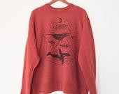 Size XXL Galactic Whales Unisex Mock Neck Crewneck Sweater