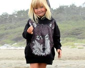 Brown Wolf Face on Black Kids Hoodie