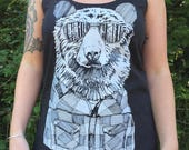 Hipster Bear Ladies Tank Top