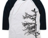 Spruce with Raven on Unisex Baseball T-Shirt
