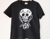 Sugar Skull Printed Ladies Crewneck Boxy T Shirt | 100% Organic Cotton Top | Made in BC