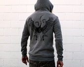 Heron and Fishies Grey Pullover Hoodie