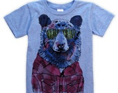 Hipster Bear on Kids T-shirt