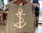 White Anchor on sleeveless top| Boxy silhouette| Summer t-shirt| Classic crew neck muscle tank| 100% organic cotton| Made in BC