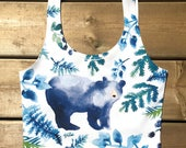 Watercolor Bear and Foliage Crop Top
