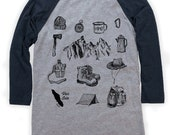 Hiking Gear on Unisex Baseball T-Shirt