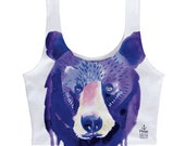 Watercolor Bear Face Crop Tank
