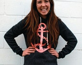 Pink Anchor on Black Pullover Hoodie