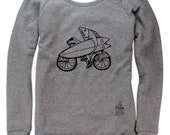 Biking Salmon on Boatneck Sweatshirt