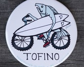 Salmon On Bike With Surfboard Magnet | Made in BC | Surfing Magnet