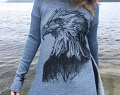 Eagle + Feathers Blue Ocean Poncho
