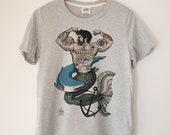 Merman Printed Ladies Crewneck Boxy T Shirt | 100% Organic Cotton Top | Made in BC