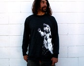Bearhugger on Heathered  Black Crewneck Sweatshirt