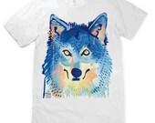 Watercolour Wolf Face Unisex T-Shirt