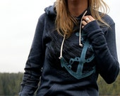 Nautical Anchor and Fish Navy Pullover Hoodie