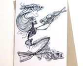 Skeleton Mermaid Card...