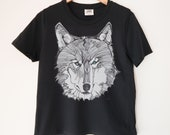 Wolf Face Printed Ladies Crewneck Boxy T Shirt | 100% Organic Cotton Top | Made in BC
