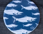 White Salmon Fish School With Blue Background | Made in BC | Nautical Fridge Magnet
