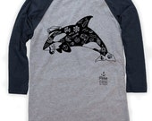 Tattoo Orca on Unisex Baseball T-Shirt