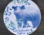Watercolour Bear and Blackberries Magnet | Made in BC | Fridge Magnet