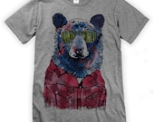 Hipster Bear on Unisex T-Shirt