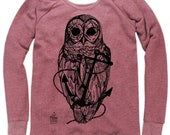 Owl and Anchor on Boatneck Sweatshirt