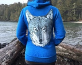 Wolf + Treeline on Blue Zip Hoodie