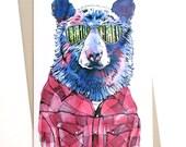 Hipster Bear Card