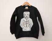 Wolf in Hoodie Kids Crewneck Sweater
