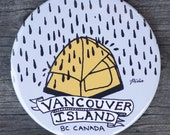 Vancouver Island Rainy Tent Magnet | Made in BC | Camping Fridge Magnet