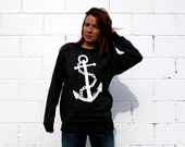 Anchor on Black Crewneck ...