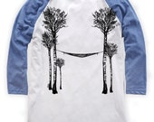 Birch Tree's and Hammock on Unisex Baseball T-Shirt