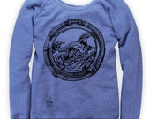 Porthole and waves on Boatneck Sweatshirt